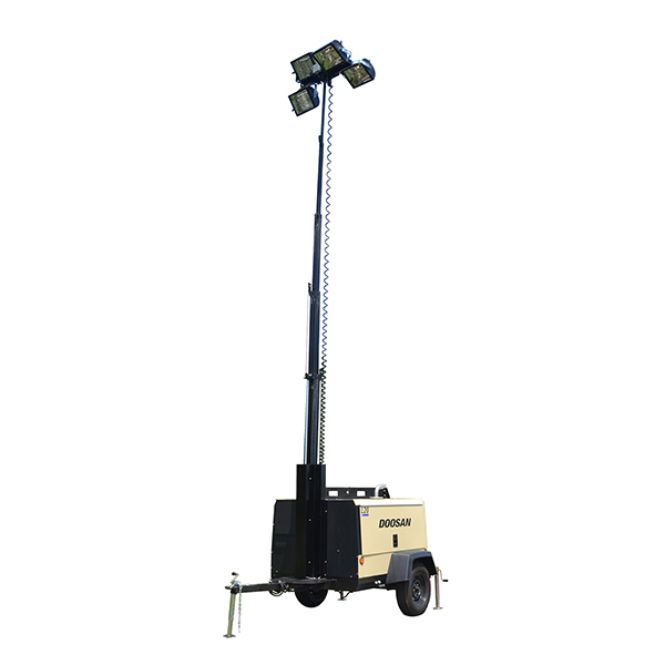 Doosan Portable Light Towers Doosan's light towers are built with the professional-grade reliability and durability required in rental and construction applications. Standard 1,000-watt metal halide lamps provide brighter and wider coverage area. Back More Details