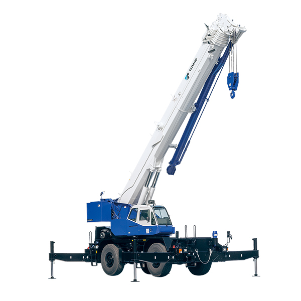 ROUGH TERRAIN CRANES  Compact cranes with a single cab for both driving and lifting operation. This compact model has maneuverability, capable of accessing to narrow spaces with all wheel steering and can be driven on rough or uneven terrain with all wheel driving. Back More Details